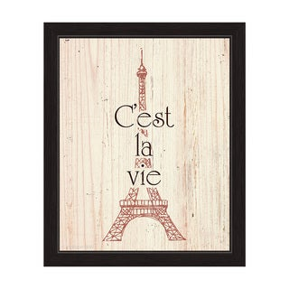 'Rouge Eiffel Tower - Cest La Vie' Framed Graphic Wall Art