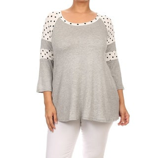 Women's Rayon and Spandex Plus Size Polka Dot 3/4-sleeved Tunic