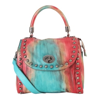 Diophy Distressed Multicolored Genuine Leather Top Handle Medium-sized Handbag