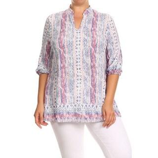 Women's Pink/Purple Polyester Plus-size Ornate Tribal Tunic