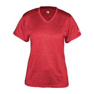 Pro Heather Women's Short Sleeve V-neck Performance Red T-shirt