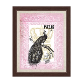 'Peacock (Paris) - Pink' Framed Graphic Wall Art