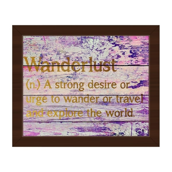 Wanderlust Definition - Gold' Canvas Espresso Framed Graphic Wall Art
