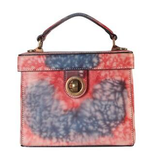 Diophy Distressed Multicolored Genuine Leather Turn-Lock Box Handbag