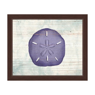 'Rustic Sand Dollar Iris' Framed Canvas Graphic Wall Art
