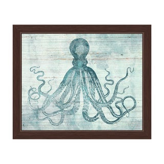'Vintage Octopus Ocean Blue' Framed Graphic Wall Art
