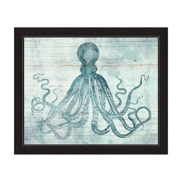 'Vintage Octopus Ocean Blue' Framed Graphic Wall Art