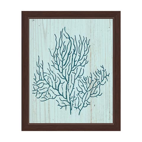 'Coral Silhouette Blue' Framed Graphic Wall Art