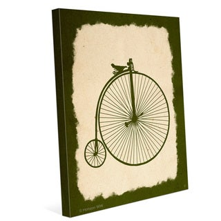 'Penny Farthing on Parchment Olive' Canvas Vintage Wall Graphic