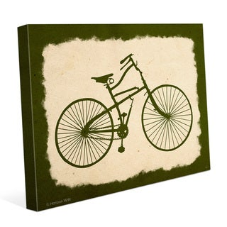 'Bicycle on Parchment Olive' Canvas Wall Graphic
