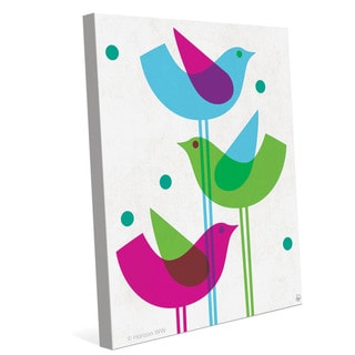'Retro Blue, Green, and Purple Stacked Birds' Wall Graphic on Canvas