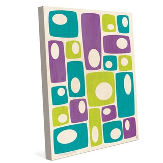 'Retro Bizarre Teal Green and Purple Stacks' Wall Graphic on Canvas