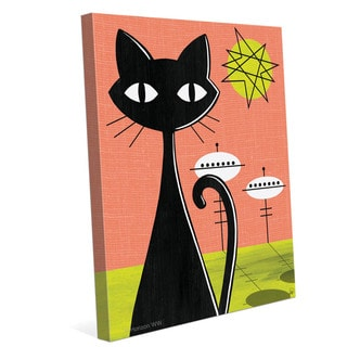 'Retro Red and Yellow Space Colony Cat' Canvas Wall Graphic