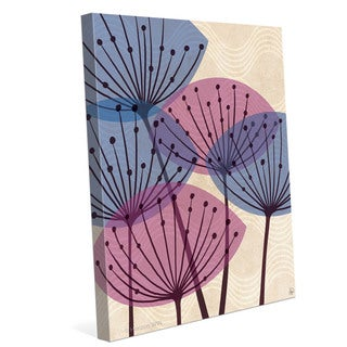 'Retro Purple and Blue Water Fronds' Canvas Wall Graphic