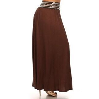 Plus Size Floral Rayon Long Skirt