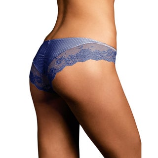 Link to Maidenform Women's Comfort Devotion Navy with White Dots Lace Back Tanga Panties Similar Items in Intimates