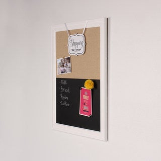Bosc Framed Combination Magnetic Chalkboard and Fabric Pinboard