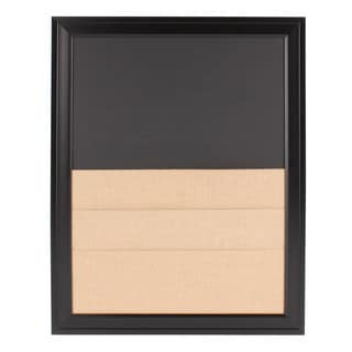 Bosc Framed Combination Magnetic Chalkboard and Burlap Pockets Board