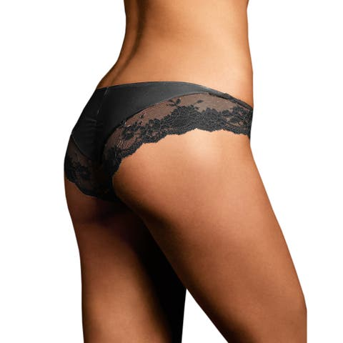 Maidenform Women's Comfort Devotion Black Lace Back Tanga Panties