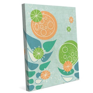 'Retro Mid-century Orange And Green Flowers' Canvas Wall Graphic