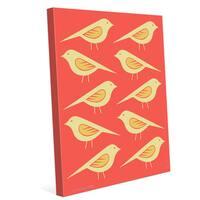 'Retro Birds Vermillion' Canvas Wall Graphic