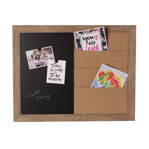 Beatrice Framed Combination Brown Magnetic Chalkboard and Burlap Pockets Board