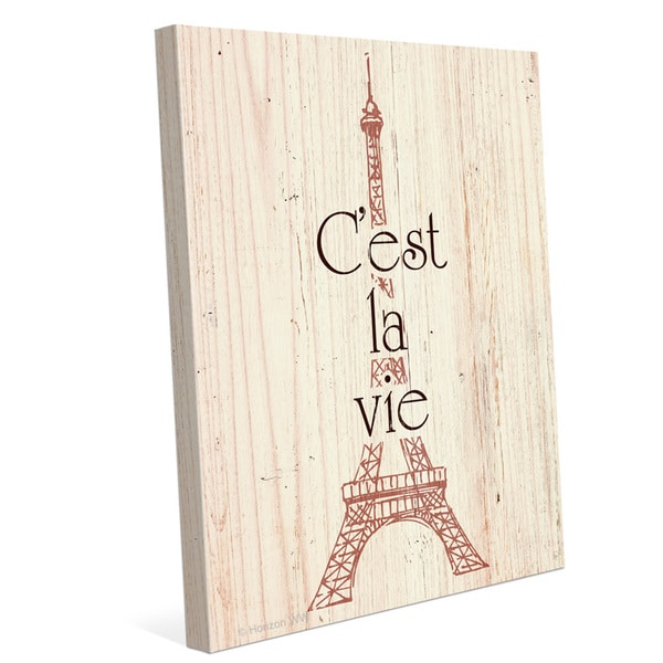 'Rouge Eiffel Tower - Cest La Vie' Canvas Wall Graphic Art