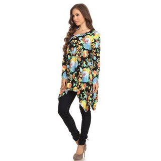 Women's Multicolored Rayon and Spandex Floral Pattern Tunic