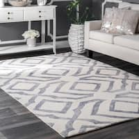 Strick & Bolton Nat Contemporary Handmade Abstract Wool Grey Area Rug (6' x 9')