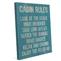 'Cabin Rules Blue' Canvas Wall Graphic