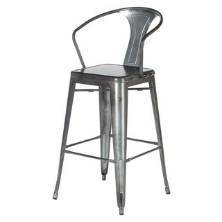 Arm Counter Stool with Back - Gunmetal Grey