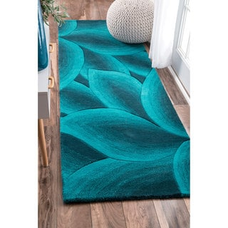 nuLOOM Handmade Leaves Turquoise Wool Runner Rug (2'6 x 8')