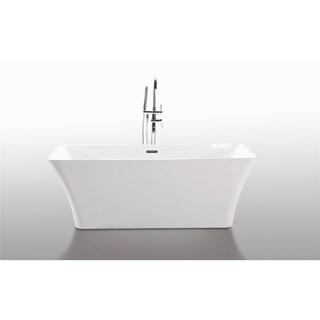Legion Furniture White/Chrome Acrylic 67-inch Bathtub