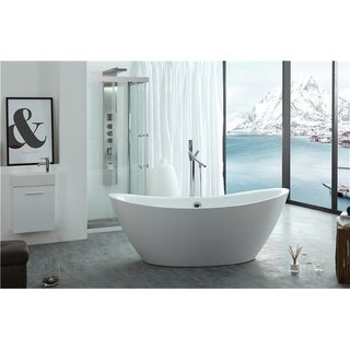 Legion Furniture White Acrylic 71-inch Freestanding Bathtub