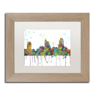 Marlene Watson 'Raleigh North Carolina Skyline' Matted Framed Art