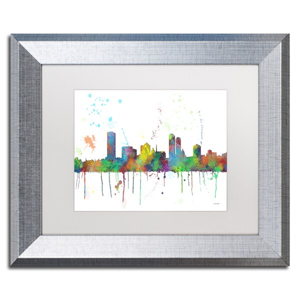 Marlene Watson 'Milwaukee Wisconsin Skyline Mclr-1' Matted Framed Art