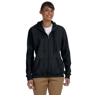 Heavy Blend Women's 50/50 Black Full-zip Hoodie
