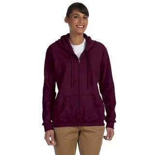 Heavy Blend Women's 50/50 Maroon Full-zip Hoodie