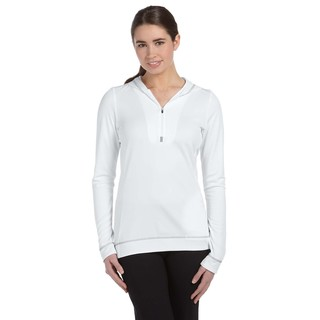 Half-zip Women's Long-sleeve White/ Grey Hoodie