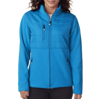 Wome'ns Fleece with Quilted Yoke Overlay Kinetic Blue Jacket