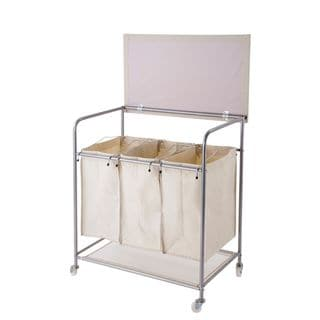 Brown Nylon Heavy-duty Laundry Sorter with Ironing Board and wheels