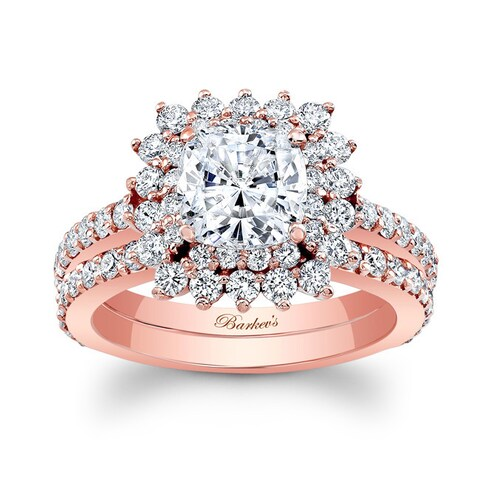 Barkev's Designer 14k Rose Gold 2 1/2ct TDW Cushion-cut Diamond Bridal Ring Set