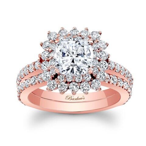 Barkev's Designer 14k Rose Gold 2 1/2ct TDW Cushion-cut Diamond Bridal Ring Set