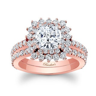 Barkev's Designer 14k Rose Gold 2 1/2ct TDW Cushion-cut Diamond Bridal Ring Set (Option: 6.75)