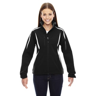 Enzo Women's Colorblocked Three-layer Fleece Bonded Soft Shell Black 703 Jacket