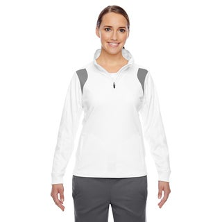 Elite Women's White/ Sport Graphite Performance Quarter-zip