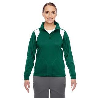 Elite Women's Sport Forest/ White Performance Quarter-zip