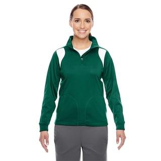 Elite Women's Sport Forest/ White Performance Quarter-zip