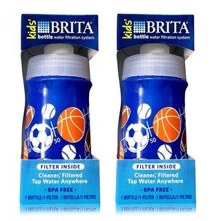 Brita Soft Squeeze 13-ounce Navy Blue Water Filter Bottle For Kids (Pack of 2)
