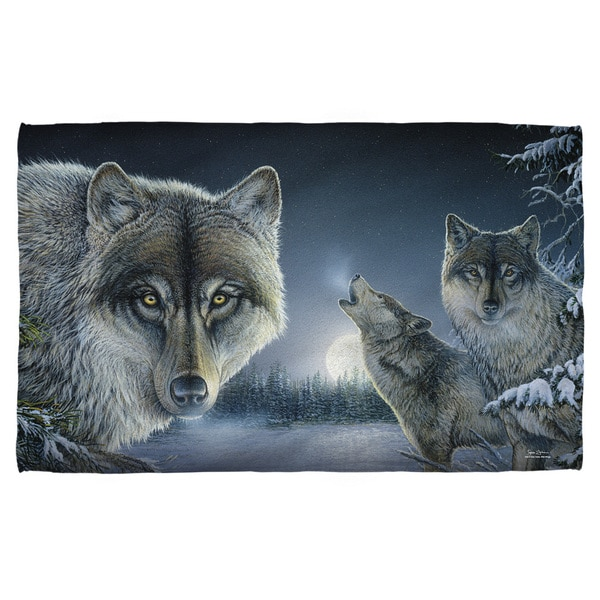 Wild Wings/Midnight Wolves 2 Polyester Beach Towel